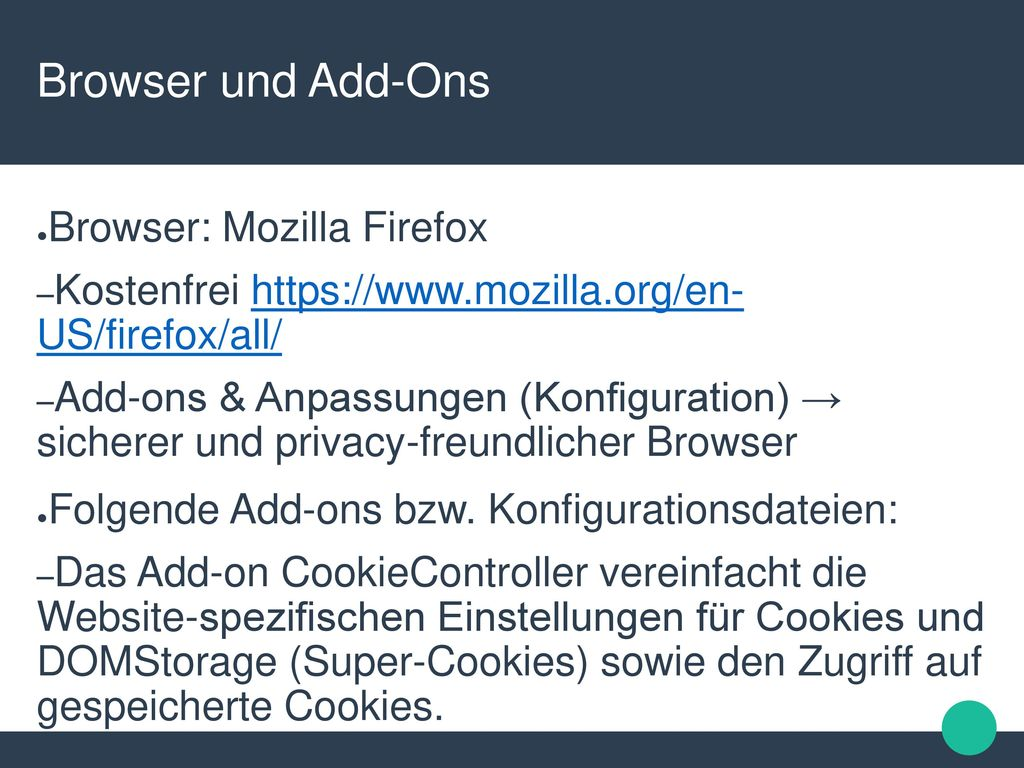Browser und Add-Ons Browser: Mozilla Firefox