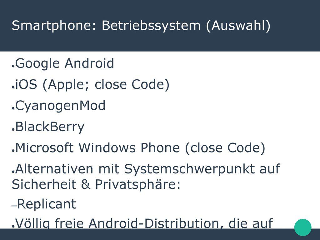 Smartphone: Betriebssystem (Auswahl)
