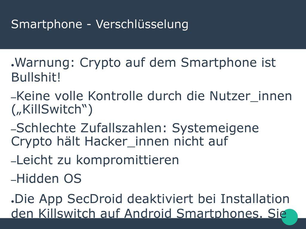 Smartphone - Verschlüsselung