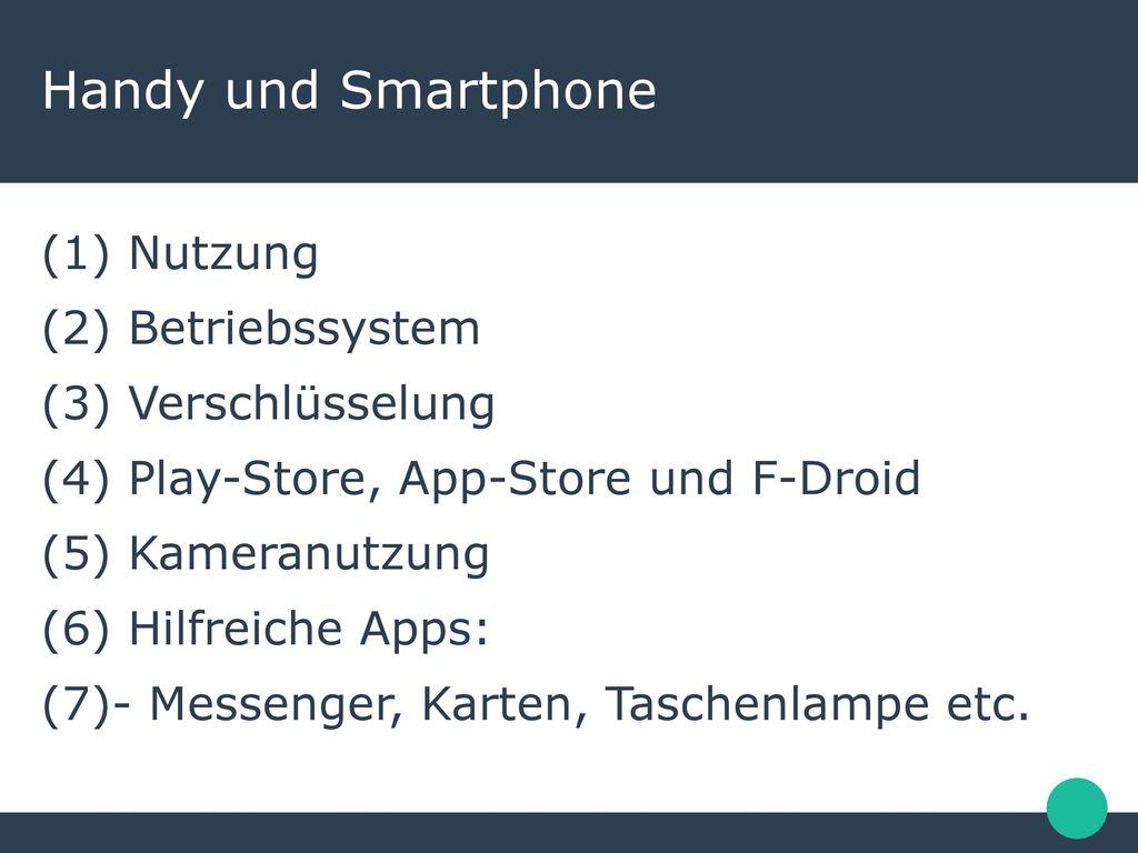 Handy und Smartphone Nutzung Betriebssystem Verschlüsselung