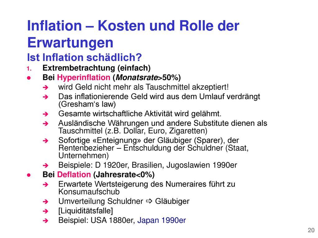 Inflation – Schweiz und international Die Bekämpfung der Inflation heisst: Desinflation, Bsp.: Schweiz 1970er, Italien 1990er