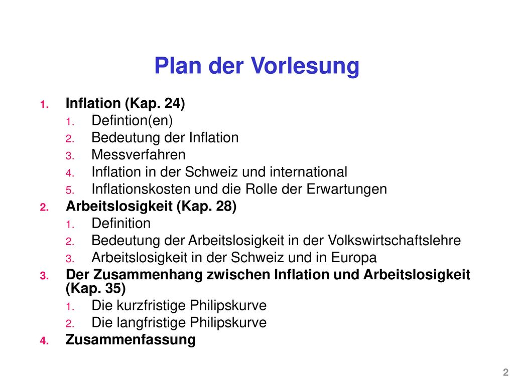 Plan der Vorlesung Inflation (Kap. 24) Defintion(en)