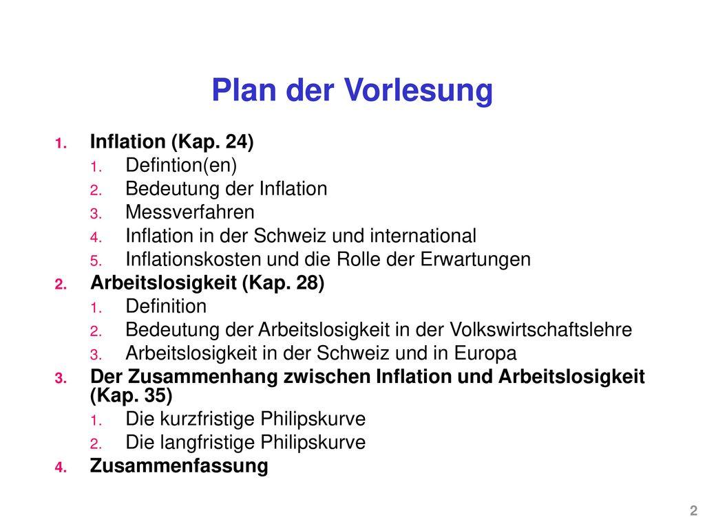 Plan der Vorlesung Inflation (Kap. 24) Defintion(en)