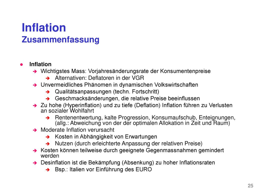 Inflation – Kosten und Rolle der Erwartungen Rolle der Erwartungen
