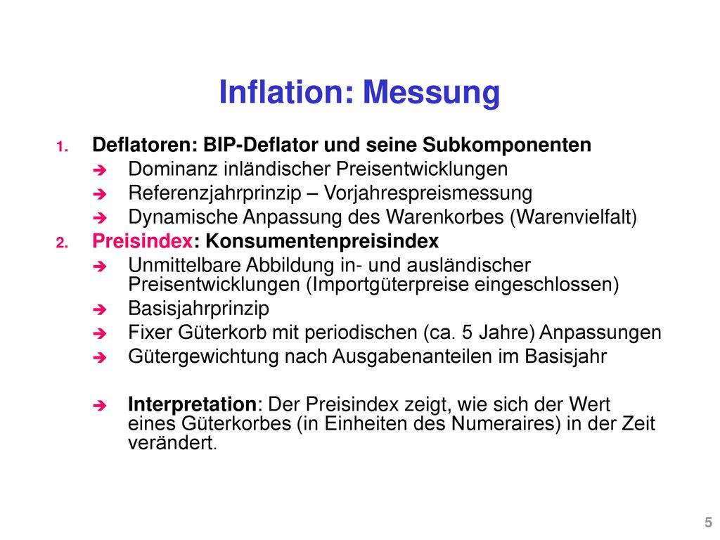 Inflation: Messung Deflatoren: BIP-Deflator und seine Subkomponenten