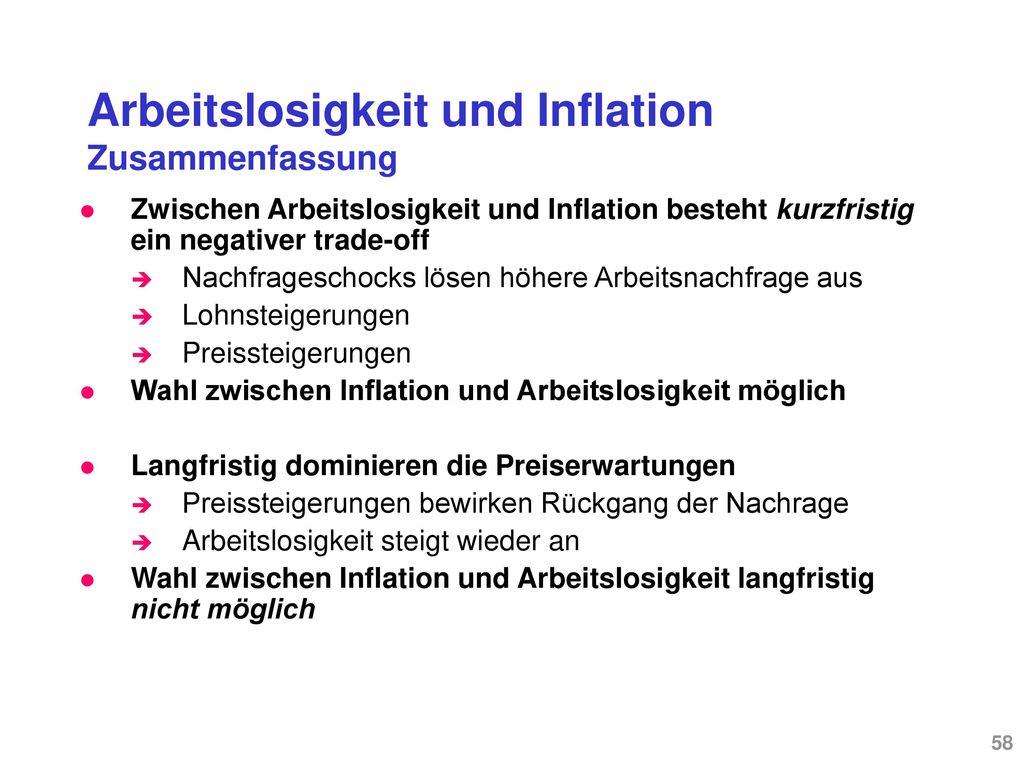 Arbeitslosigkeit und Inflation Die traditionelle Philipskurve