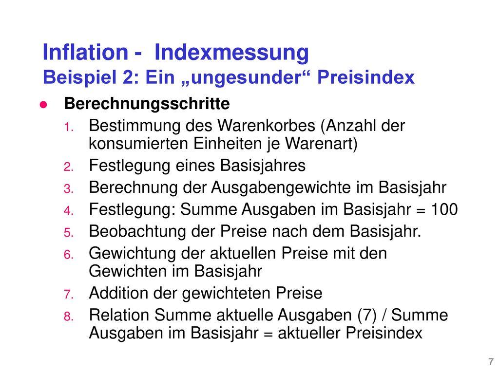 """Inflation - Indexmessung Beispiel 2: Ein """"ungesunder Preisindex"""