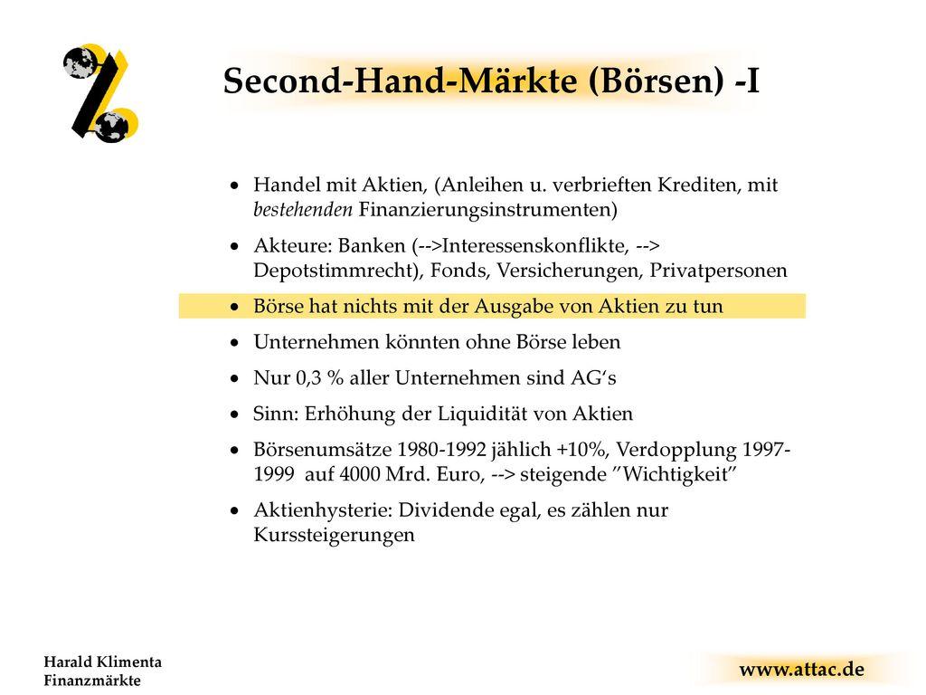 Second-Hand-Märkte (Börsen) -I