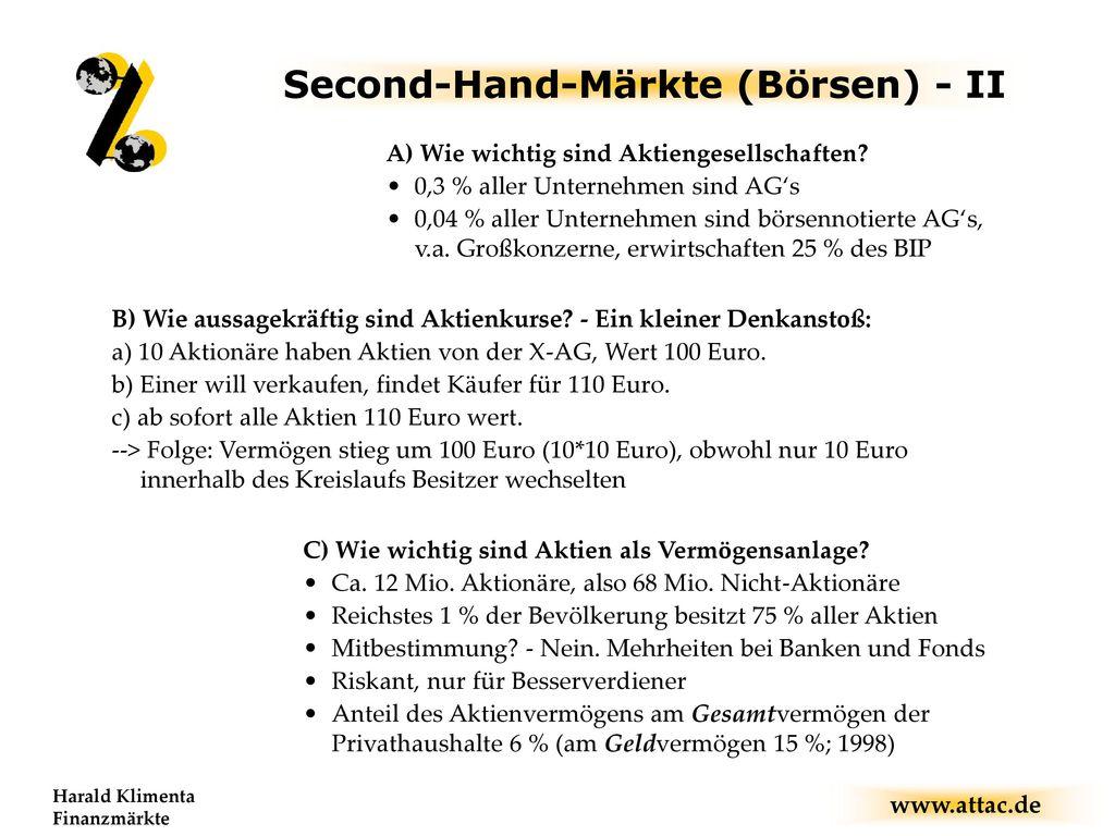 Second-Hand-Märkte (Börsen) - II