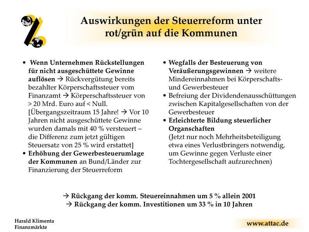 Auswirkungen der Steuerreform unter rot/grün auf die Kommunen