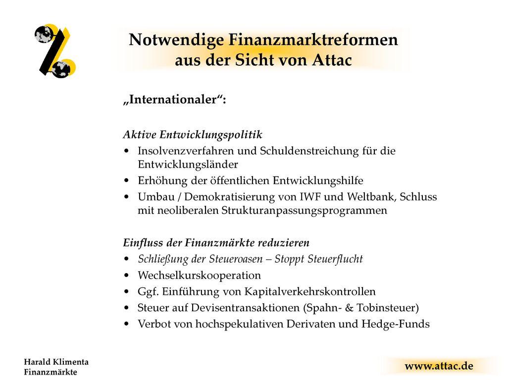 Notwendige Finanzmarktreformen aus der Sicht von Attac