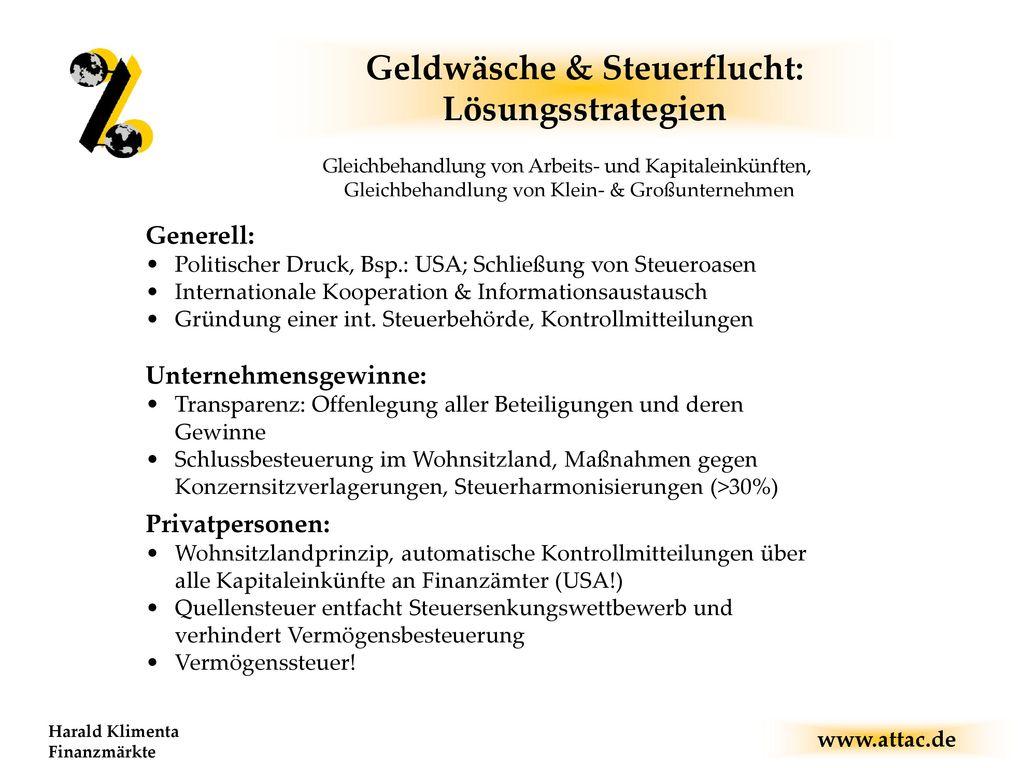 Geldwäsche & Steuerflucht: Lösungsstrategien