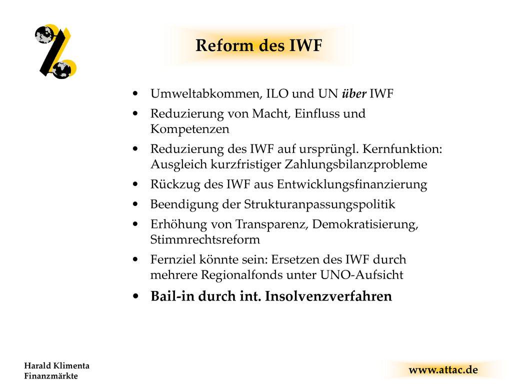 Reform des IWF Bail-in durch int. Insolvenzverfahren
