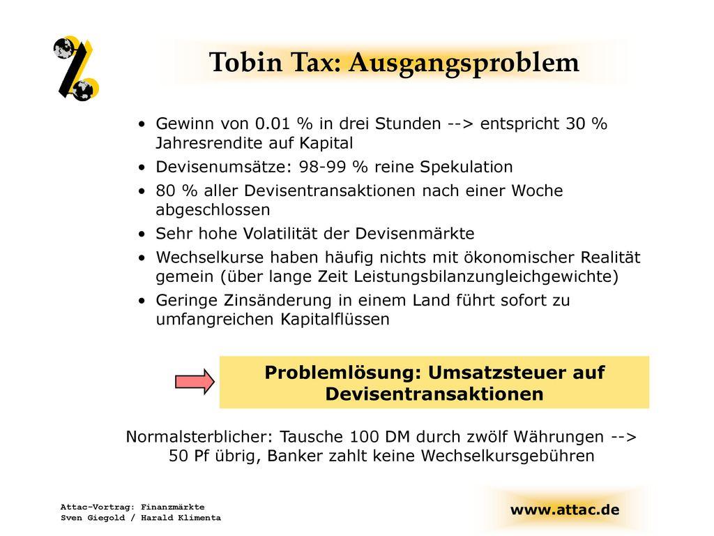Tobin Tax: Ausgangsproblem