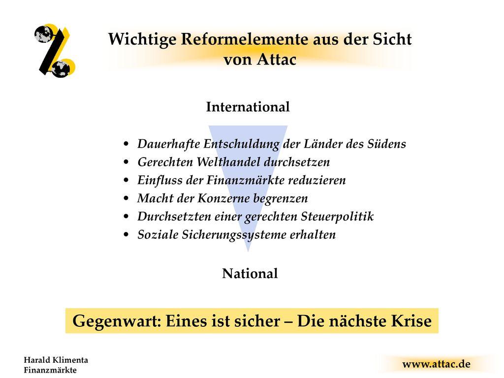 Wichtige Reformelemente aus der Sicht von Attac