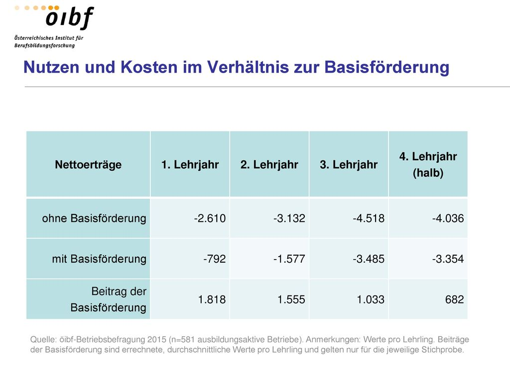 Nutzen und Kosten im Verhältnis zur Basisförderung
