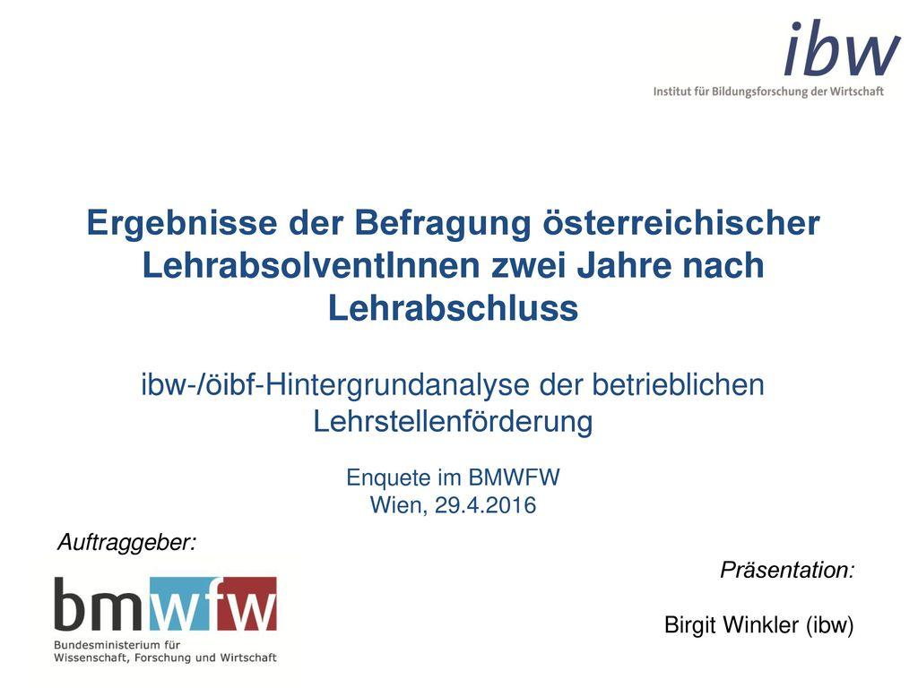 ibw-/öibf-Hintergrundanalyse der betrieblichen Lehrstellenförderung