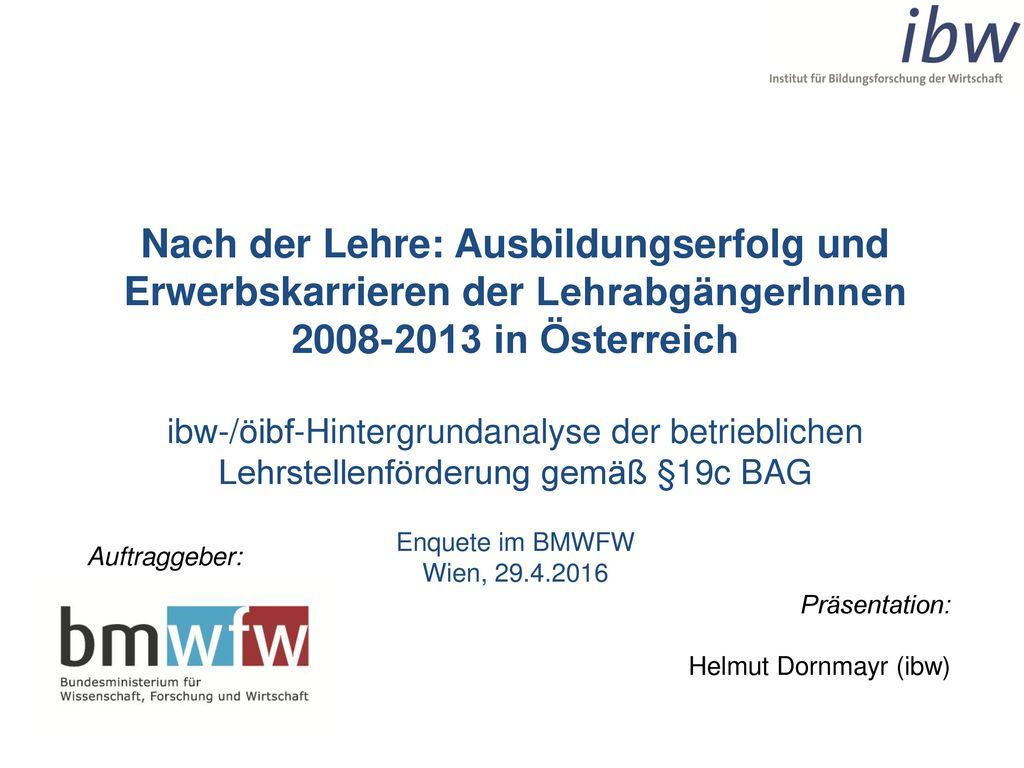 Nach der Lehre: Ausbildungserfolg und Erwerbskarrieren der LehrabgängerInnen 2008-2013 in Österreich