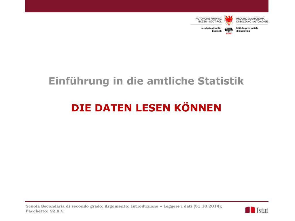 Einführung in die amtliche Statistik