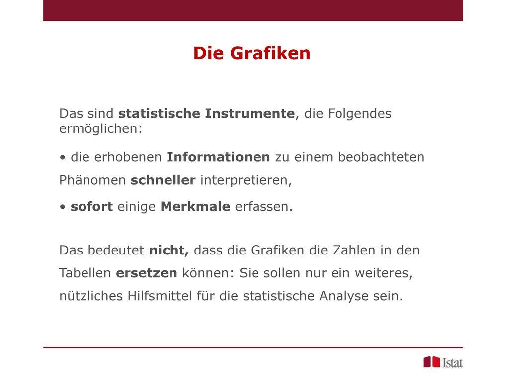 Die Grafiken Das sind statistische Instrumente, die Folgendes ermöglichen: