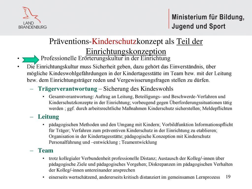 Präventions-Kinderschutzkonzept als Teil der Einrichtungskonzeption