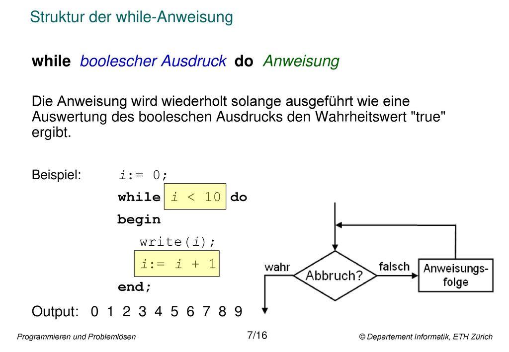 Struktur der while-Anweisung