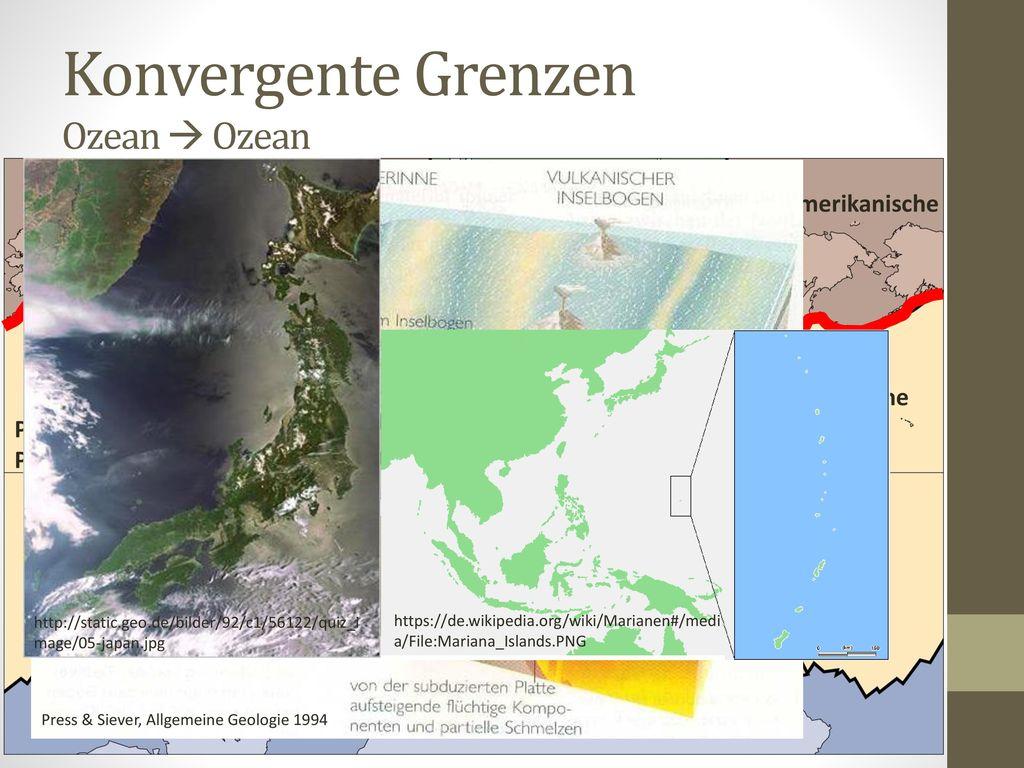 Konvergente Grenzen Ozean  Ozean