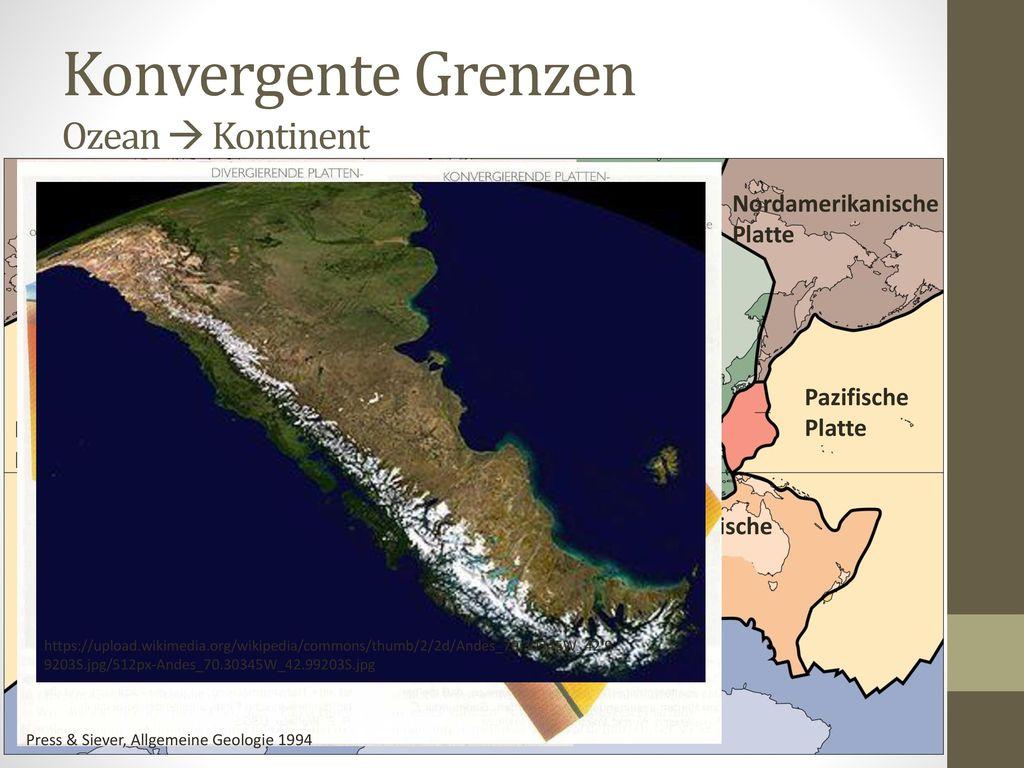 Konvergente Grenzen Ozean  Kontinent