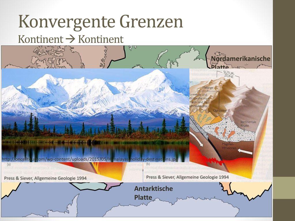 Konvergente Grenzen Kontinent  Kontinent