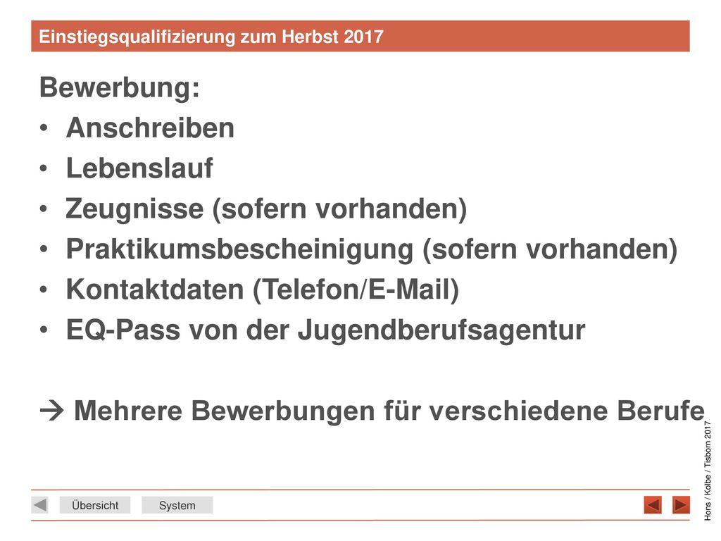 Einstiegsqualifizierung zum Herbst 2017