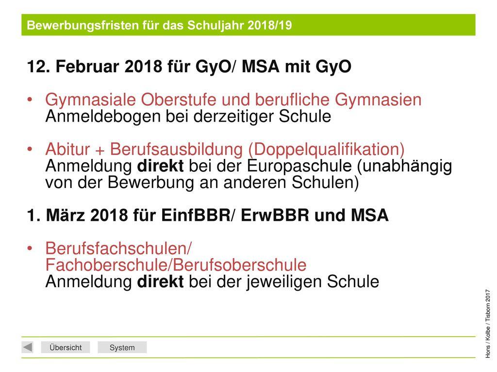 Bewerbungsfristen für das Schuljahr 2018/19