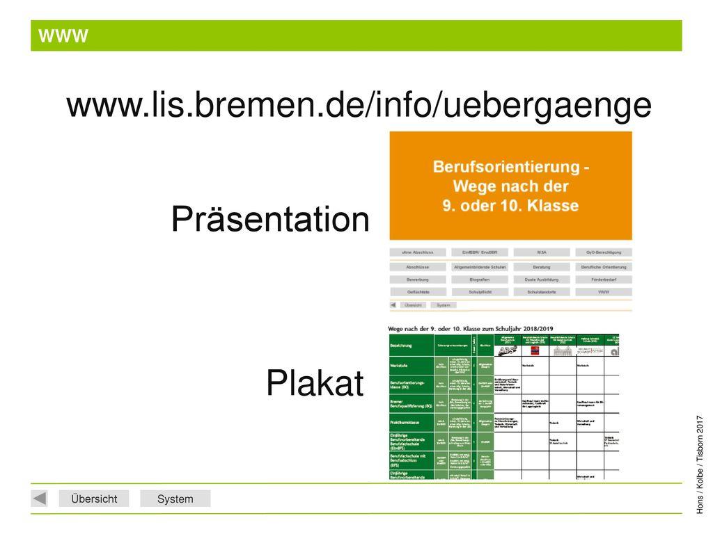 WWW www.lis.bremen.de/info/uebergaenge Präsentation Plakat