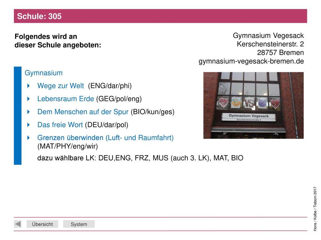 Schule: 305 Gymnasium Vegesack Kerschensteinerstr. 2 28757 Bremen