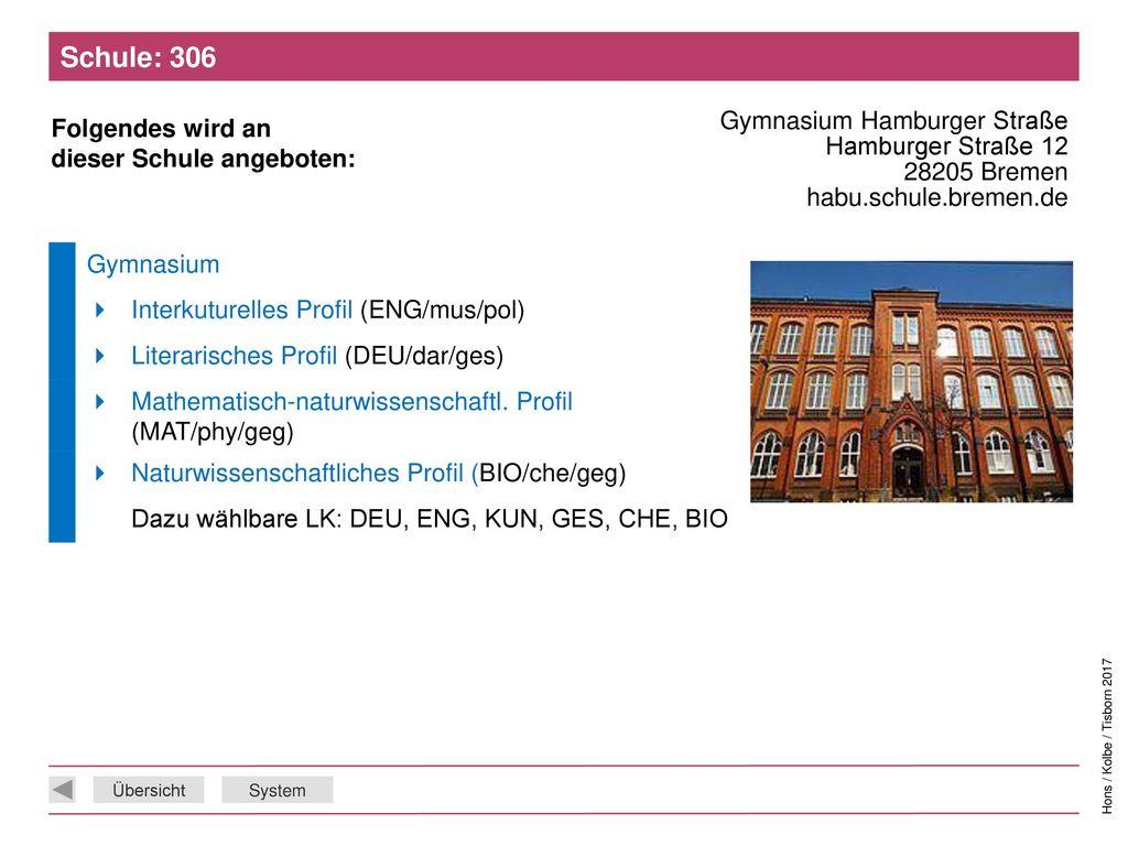 Schule: 306 Gymnasium Hamburger Straße Hamburger Straße 12 28205 Bremen habu.schule.bremen.de. Gymnasium.