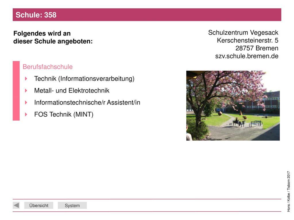 Schule: 358 Schulzentrum Vegesack Kerschensteinerstr. 5 28757 Bremen szv.schule.bremen.de. Berufsfachschule.