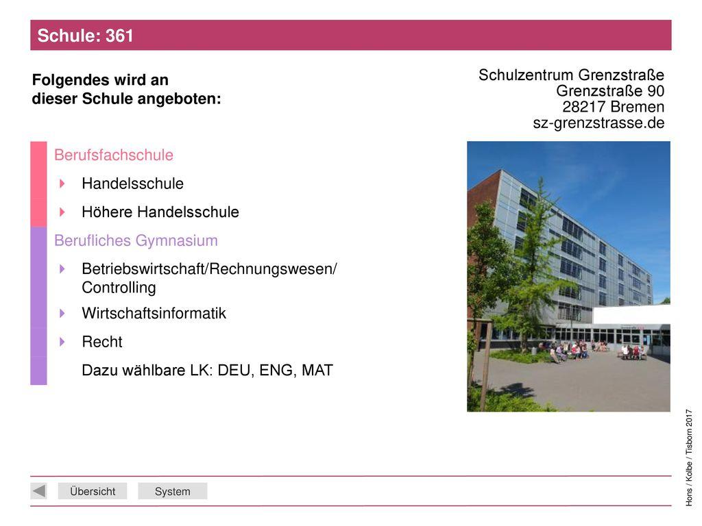 Schule: 361 Schulzentrum Grenzstraße Grenzstraße 90 28217 Bremen sz-grenzstrasse.de. Berufsfachschule.