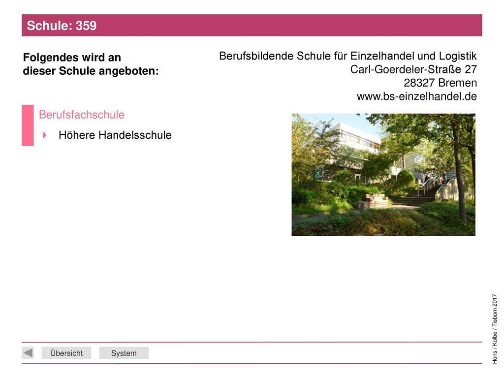 Schule: 359 Berufsbildende Schule für Einzelhandel und Logistik Carl-Goerdeler-Straße 27. 28327 Bremen www.bs-einzelhandel.de.