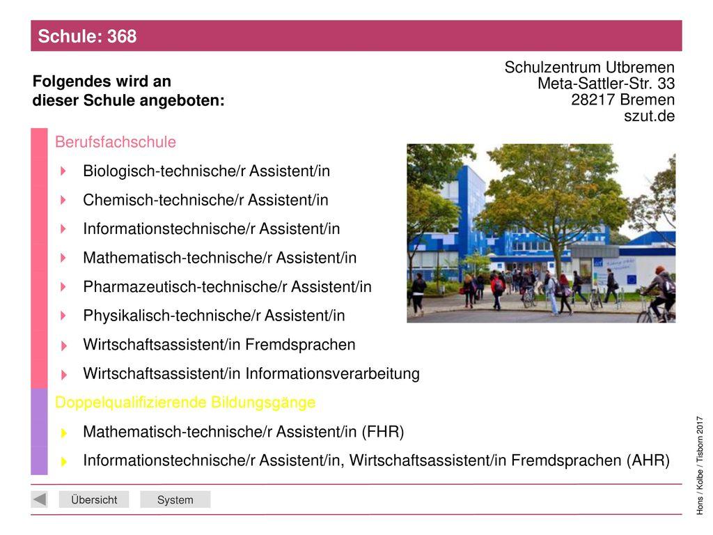 Schule: 368 Schulzentrum Utbremen Meta-Sattler-Str. 33 28217 Bremen szut.de. Berufsfachschule. 