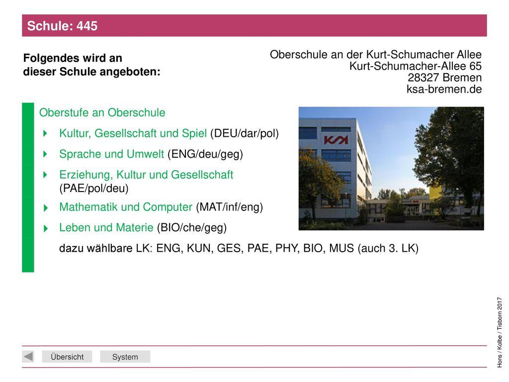 Schule: 445 Oberschule an der Kurt-Schumacher Allee Kurt-Schumacher-Allee 65 28327 Bremen ksa-bremen.de.