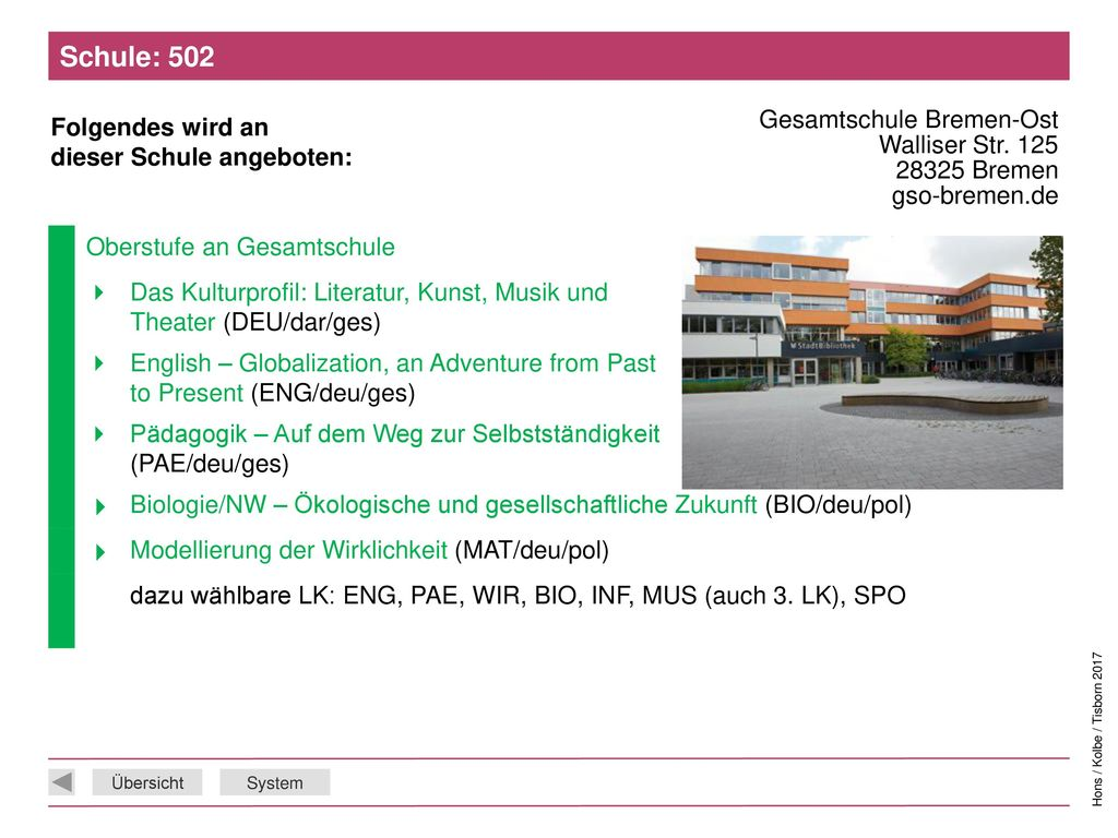 Schule: 502 Gesamtschule Bremen-Ost Walliser Str. 125 28325 Bremen gso-bremen.de. Oberstufe an Gesamtschule.