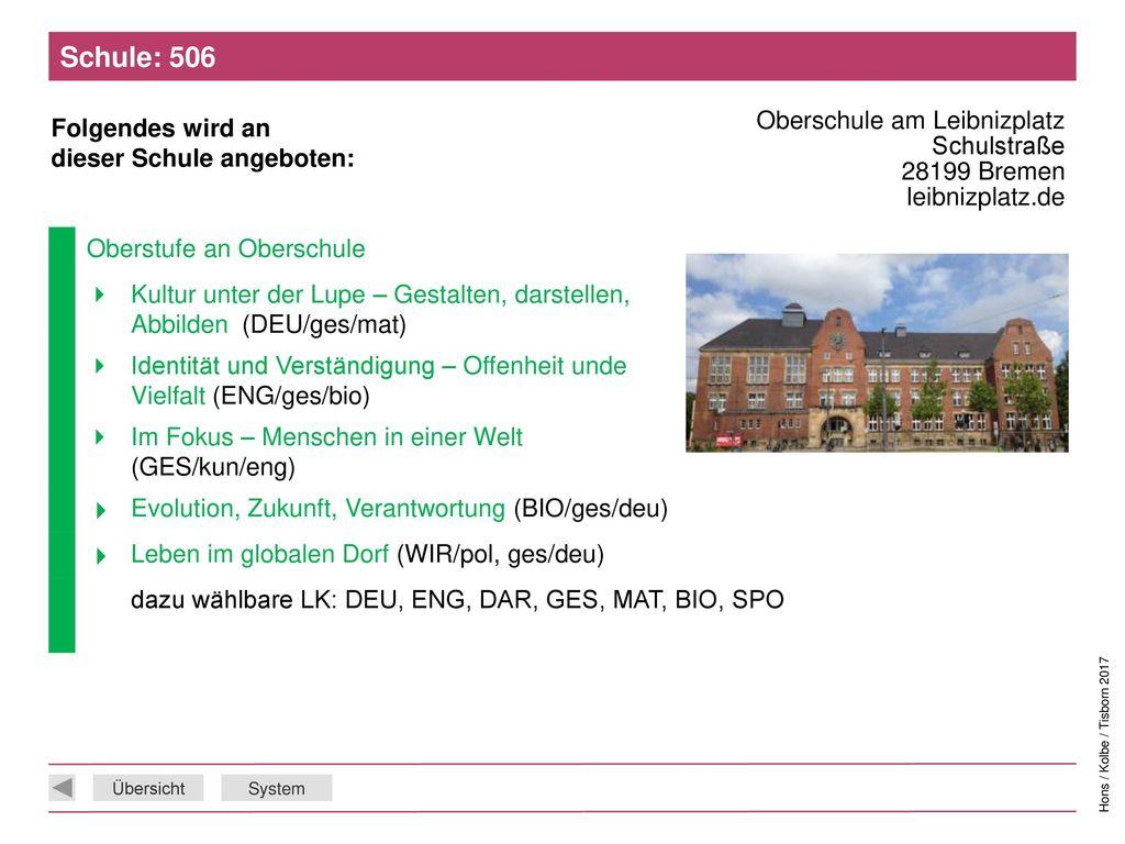 Schule: 506 Oberschule am Leibnizplatz Schulstraße 28199 Bremen leibnizplatz.de. Oberstufe an Oberschule.