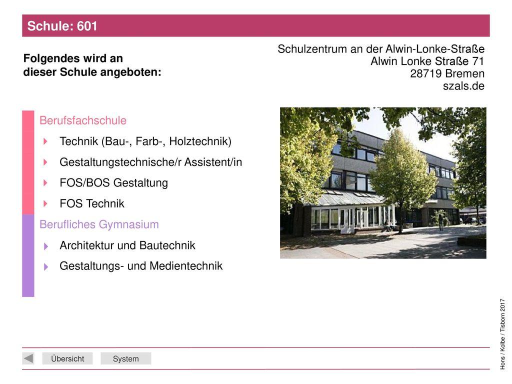 Schule: 601 Schulzentrum an der Alwin-Lonke-Straße Alwin Lonke Straße 71 28719 Bremen szals.de. Berufsfachschule.