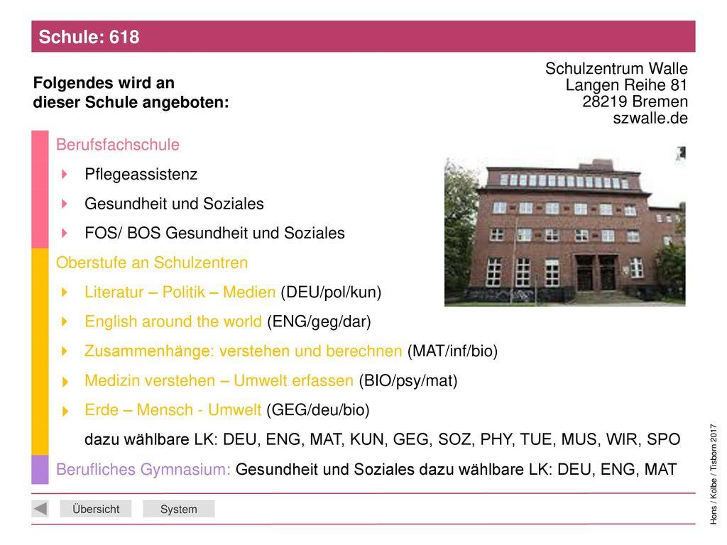Schule: 618 Schulzentrum Walle Langen Reihe 81 28219 Bremen szwalle.de