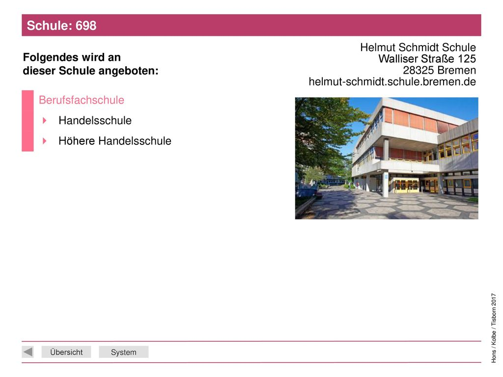 Schule: 698 Helmut Schmidt Schule Walliser Straße 125 28325 Bremen helmut-schmidt.schule.bremen.de.