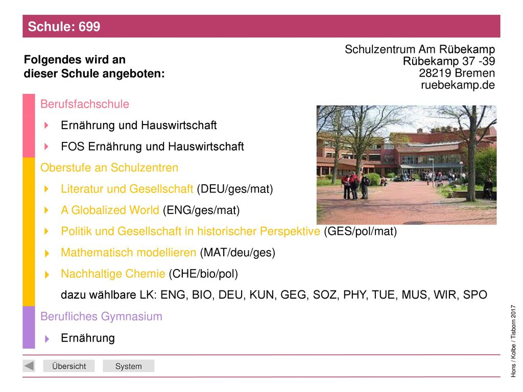 Schule: 699 Schulzentrum Am Rübekamp Rübekamp 37 -39 28219 Bremen ruebekamp.de. Berufsfachschule.