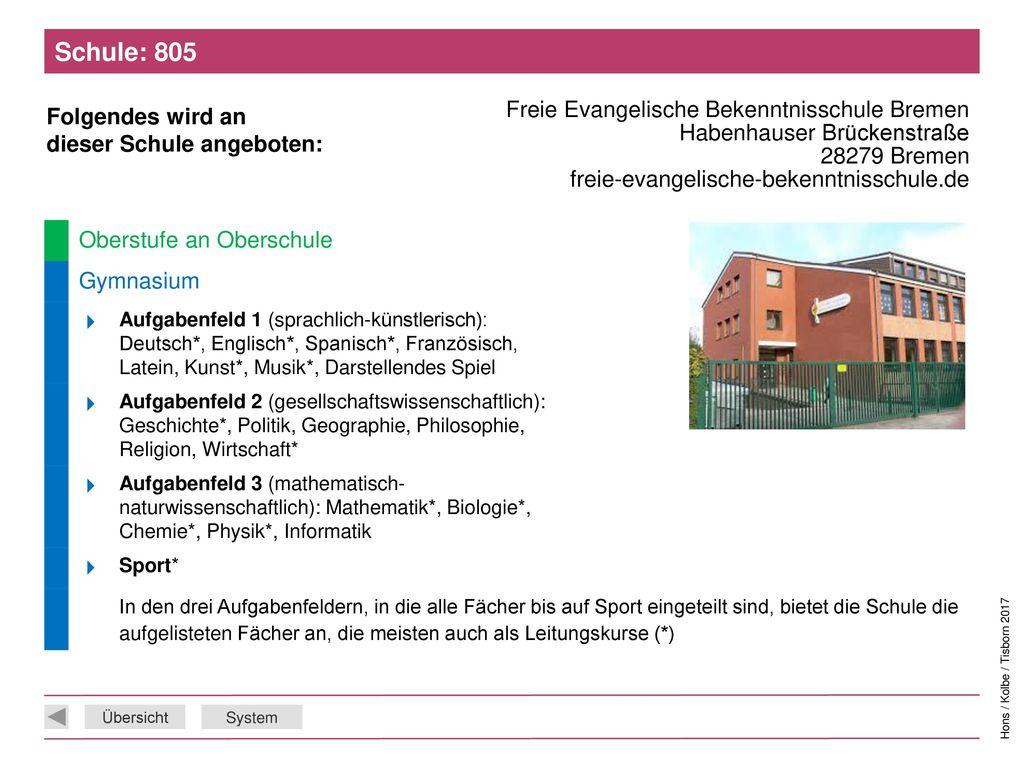 Schule: 805 Freie Evangelische Bekenntnisschule Bremen Habenhauser Brückenstraße 28279 Bremen freie-evangelische-bekenntnisschule.de.