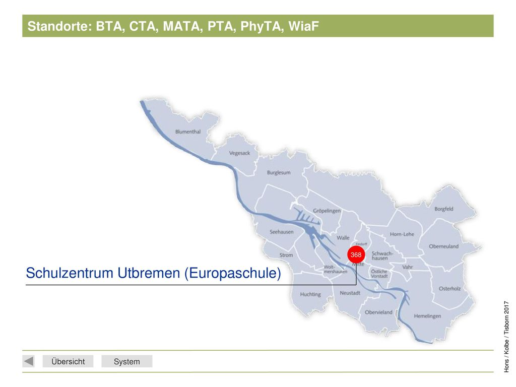 Standorte: BTA, CTA, MATA, PTA, PhyTA, WiaF