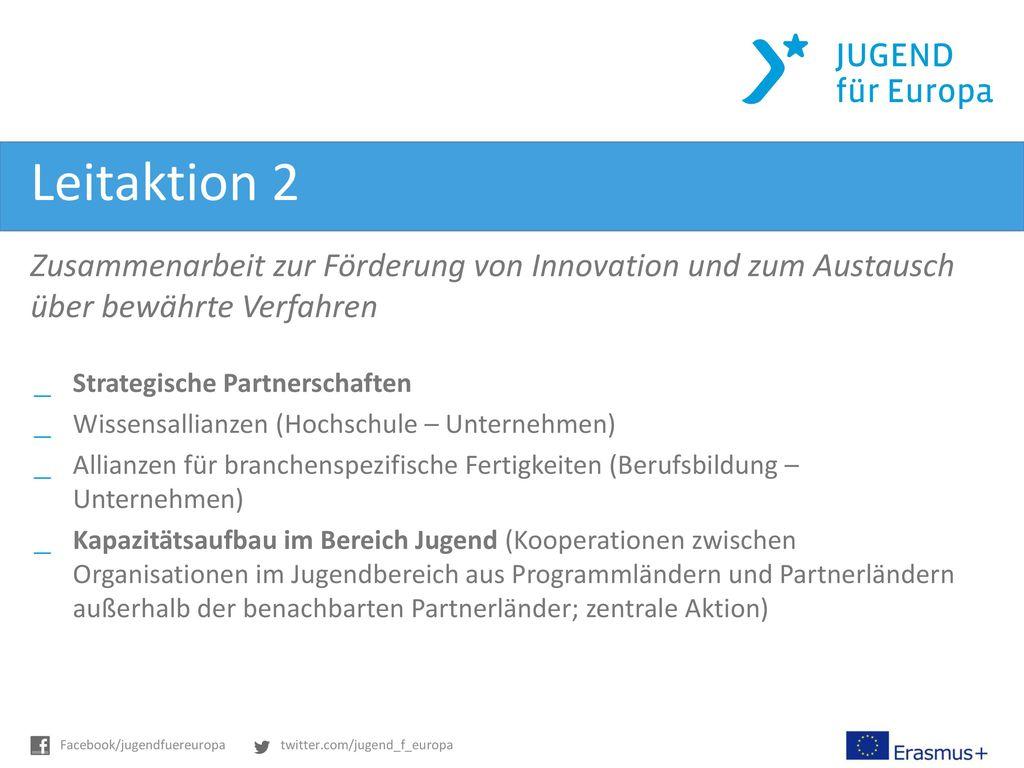 Leitaktion 2 Zusammenarbeit zur Förderung von Innovation und zum Austausch über bewährte Verfahren.