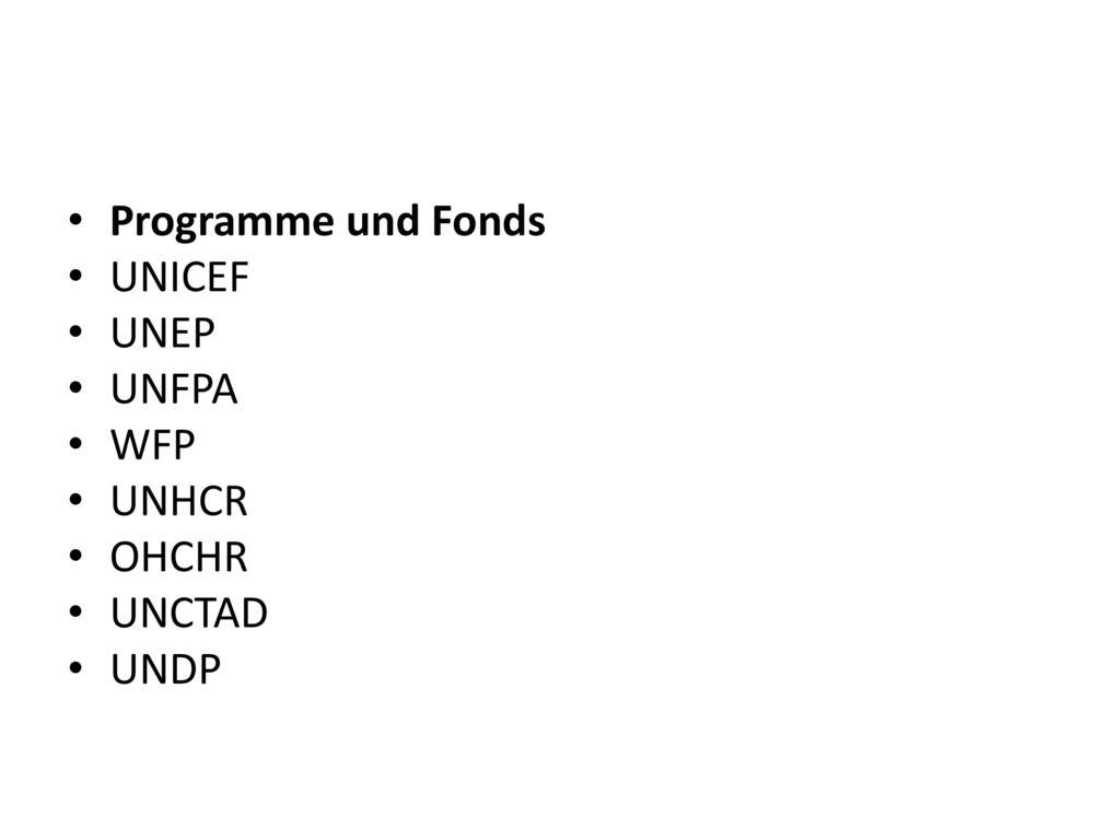 Programme und Fonds UNICEF UNEP UNFPA WFP UNHCR OHCHR UNCTAD UNDP