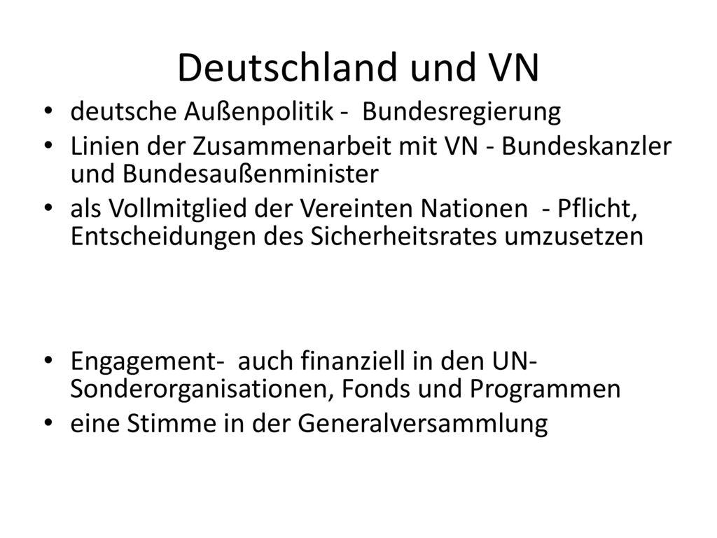 Deutschland und VN deutsche Außenpolitik - Bundesregierung